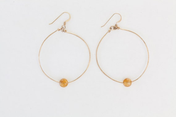 14K Gold Filled, Citrine Hoop Earrings