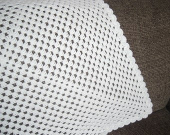 Crocheted Baby Blanket / Afghan, White Granny Square