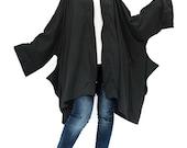 NO.179 Black Cotton Jersey Loose-Fitting Zip Front Jacket, Oversized Hooded Poncho, Unisex Jacket
