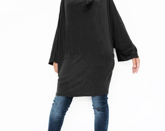 NO.188 Black Rayon Classic Batwing Long Sleeve Tunic, Slouchy Fold-Over Neck Top, Women's Tunic
