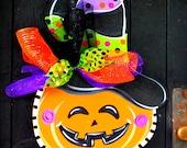Halloween Wreath, Pumpkin Wreath, Halloween Door Hanger, Pumpkin Decoration, Halloween Decor, Halloween Pumpkin, Halloween Decor