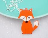 Kawaii Fox Cute Acyrlic Necklace