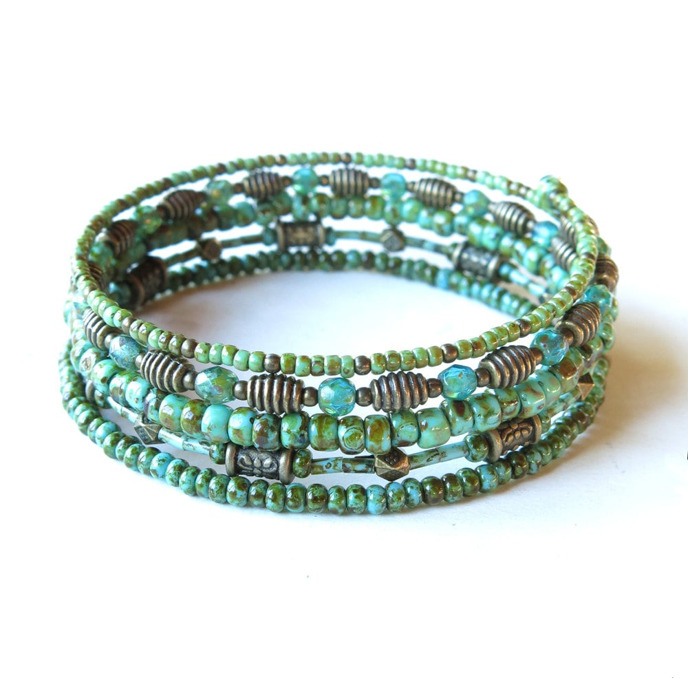 Stacked beaded bracelets Olive green & turquoise Picasso