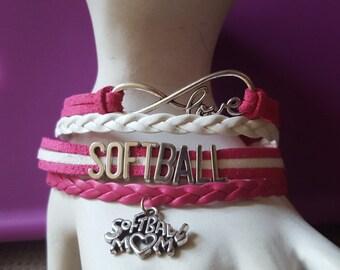 Fashion Softball bracelets infinity jewelry bangles
