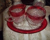 Cranberry Glass Rimmed Cream and Sugar Set         mch550