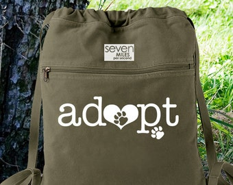 Adopt Dog / Cat / Pet Canvas Backpack Cinch Sack