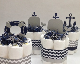 FOUR Navy and Grey Nautical Mini Diaper Cakes, Baby Shower Decoration, New Baby Gift, Nautical Baby Shower, Nautical Diaper Cake