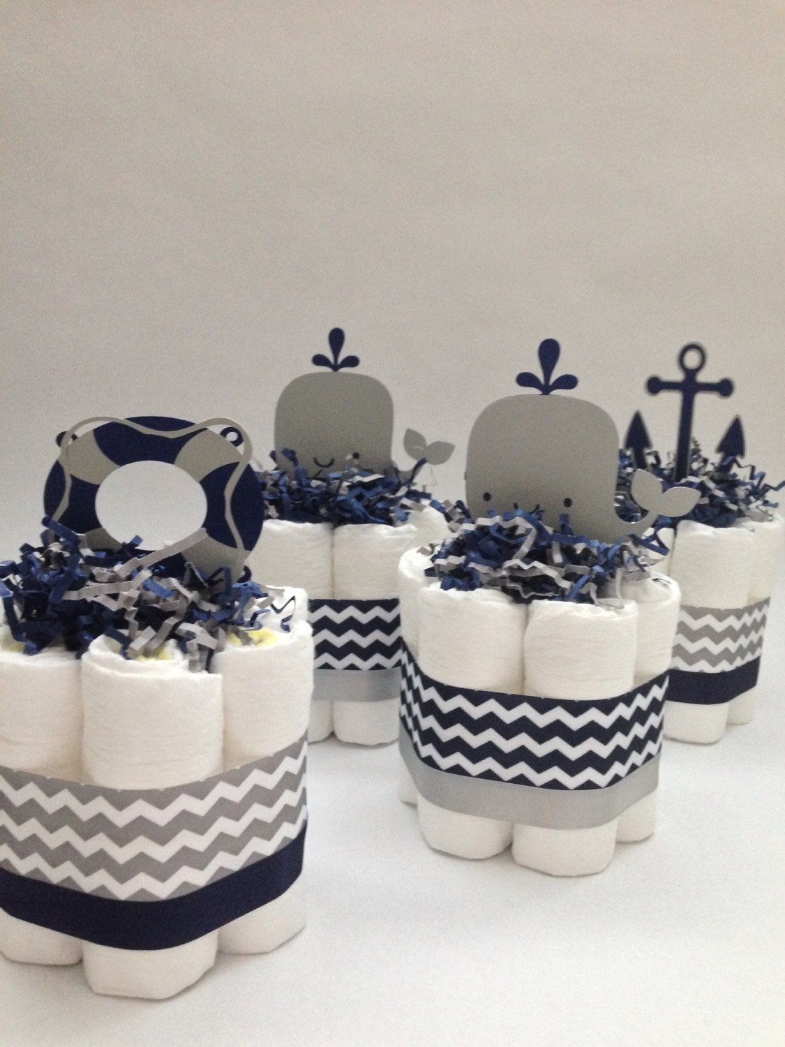 Four Navy And Grey Nautical Mini Diaper Cakes Baby Shower