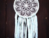 Dream Catcher - Floral Fields - With White Crochet Web and Floral Patterned Turquoise and Green Textiles - Home Decor, Nursery Mobile