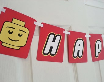 Lego Themed Banner - Lego Party - Custom Party Banner - Happy Birthday - Kids Party Banner