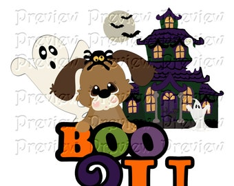 Printable Halloween Puppy Shirt Transfer or Magnet Dog Halloween Shirt Ghost Halloween Shirt Boo Shirt