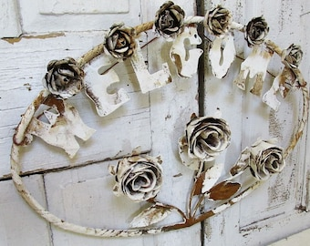 Metal roses welcome sign rusty white shabby farmhouse door or wall decoration hand cut rustic cottage rose heads Anita Spero Design