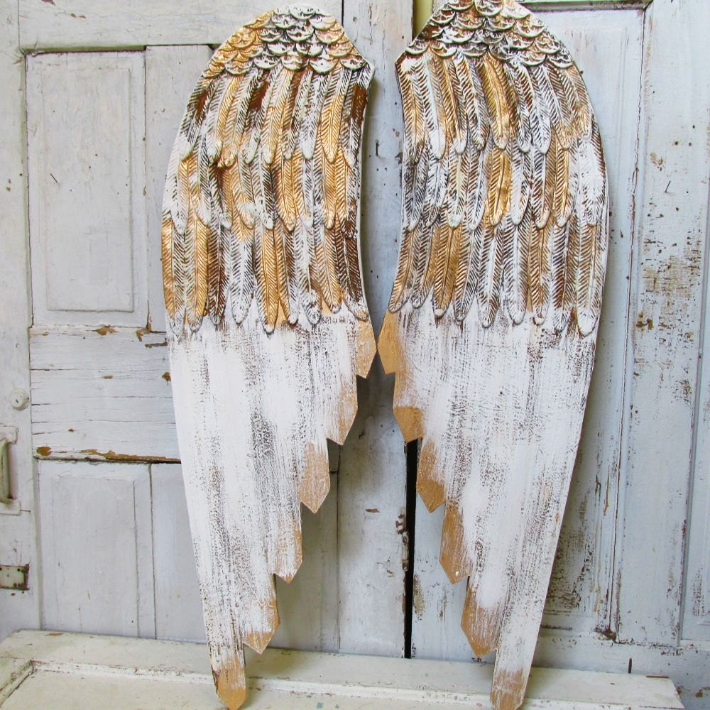 Wood Wings Wall Decor : Large wooden angel wings wall hanging romantic shabby cottage
