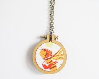 "Mini Embroidery Hoop Necklace Kit | 1.6"" (40mm) Embroidery Hoop from Dandelyne, Circular Mini Hoops, DIY Jewelry Kit"