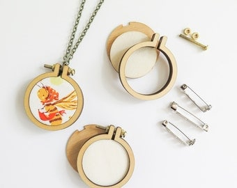 """3 Mini Embroidery Hoops Necklace Brooch Kit 