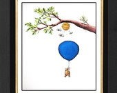 Winnie the Pooh Print Honey Tree , Winnie The Pooh, Pooh Bear Print, Nursery Art, Nursery Prints, Nursery Decor, Baby Room,Children Room Art