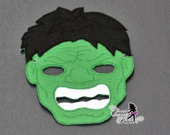 Hulk Halloween Mask - Super Hero Mask- Childrens Halloween Mask - Green Super Hero - Birthday Party Favor  - Felt Mask