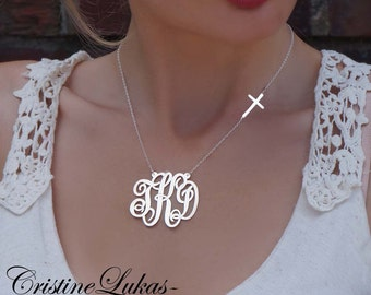 Monogram Initials Necklace with Sideways Cross - Personalized Swirly Initials Necklace - Sterling Silver, Yellow Gold or Rose Gold
