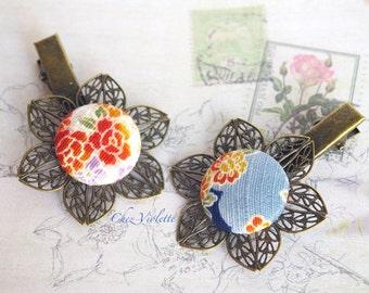 Flower hair clip fabric hair pins Asian hairstyle Japanese hair clips blue hair pin