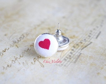 Gift with heart / Valentine's day gift / Heart stud earrings / Red white studs / Cute jewelry / fabric post