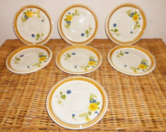 Set of 7 mikasa plates Stone Manor Garden Bouquet F 5818 Japan saucer cup plates Discontinued Pattern Actual: 1976 - 1982