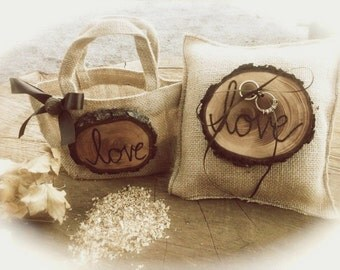 Rustic Ring Bearer - Flower Girl Basket - Burlap Wedding Ring Bearer - Wedding Ring Pillow - Country Ring Bearer Pillow - Fall Ring Bearer
