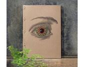 Vintage Eye. Embroidered A5 Notebook. Anatomy Eye Journal. Sepia Anatomical Notebook. Men's Notebook. Stab Bound Journal. Fiber Art Notebook