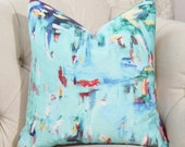 Teal Abstract Pillow Cover - Multi Colored Pillow - Red Pink Purple Blue Aqua Gray Yellow & Creme Pillow - Bright Teal Pillow Cover Option 2
