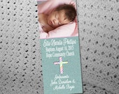 50, 100 or 150 Custom Baptism Announcement Photo Bookmarks