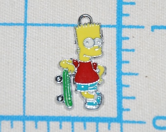 Bart Simpson Enamel Clip Charm, zipper pull, backpack, cell phone, purse clip, necklace, bracelet, scrapbooking.
