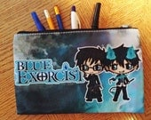 Blue Exorcist Cosmetic Bag - Blue Exorcist Pencil Bag - Ao No Exorcist Pencil Bag - Ao No Exorcist Cosmetic - Chibi Rin, Yukio and Mephisto