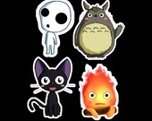 Studio Ghibli Stickers - Studio Ghibli Chibi Stickers - Miyazaki Stickers - Totoro, Calcifer, Jiji, Kodama - Buy individually or as a set