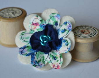 Flower Corsage, Flower Brooch, Textile Brooch, Fabric Brooch