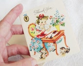 Vintage Thank You Card 1940s Girl at Desk With Kittens Small Size Unused