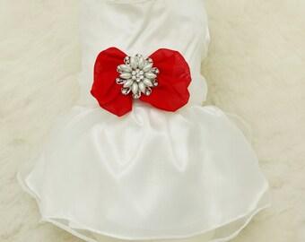 Red Dog Dress, Christmas gift, Pet accessory,dog clothing, Rhinestone and pearls dress, dog lovers, dog birthday gift, custom dog dress