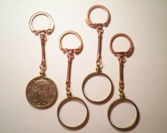 4 Coppercoated Kennedy Half Dollar Coin Holder Keyrings with 1 Kennedy Half Dollar