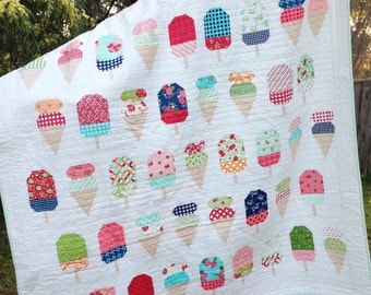 PDF Pattern for Scooped Single Twin Patchwork Quilt. Ice Cream Gelato Handmade Quilt for Child Bedroom Throw