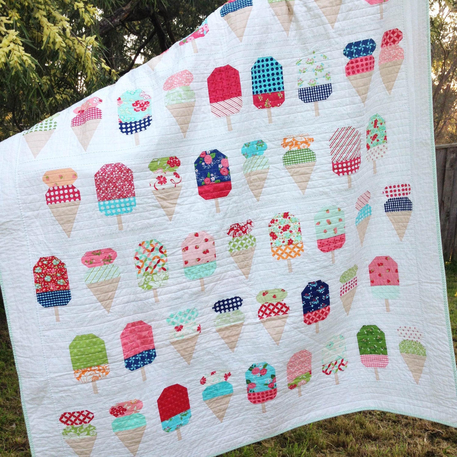PDF Pattern for Scooped Single Twin Patchwork Quilt. Ice Cream : patchwork quilt twin - Adamdwight.com