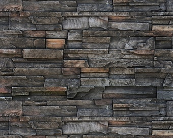 Vinyl Photography  Backdrop Photo Prop - Dark Stone Wall