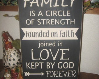 Wood Sign,Rustic Wall Decor,Our Family is a circle of Love,Home Decor,Primitive Wood Sign,Entry Way Decor,Family Sign,Wall Decor,Farmhouse