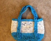 Upcycled Blue and White Plarn Tote