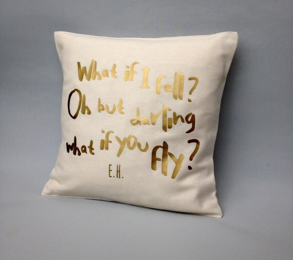 Throw Pillow With Quotes : Gold quote pillow cover What if I fall quote Gold Throw
