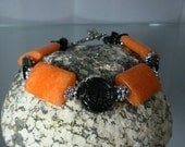 Black Onyx and Orange Calcite.Toggle Bracelet