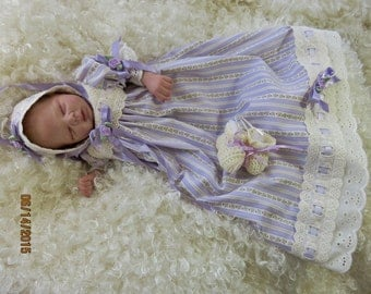 Vintage look gown dress set for 13-15 inch preemie reborn, art doll, silicone baby   CLOTHING ONLY!