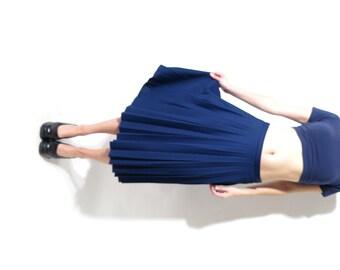 Vintage Sparlen Crimplene Navy Blue Accordion Skirt Size 42