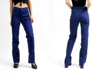 Vintage 70s Maxi Long Navy Blue Jeans