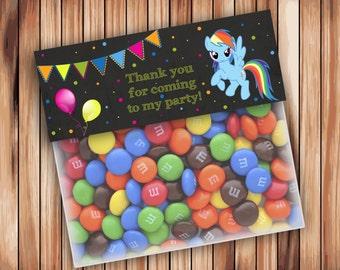 My Little Pony Favor Bag Toppers, Chalkboard Party My Little Pony Ziptop Topper, My Little Pony Treat Bag Topper  - INSTANT Download - 001