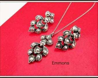 Emmons Necklace earring set of silver and Marcasite