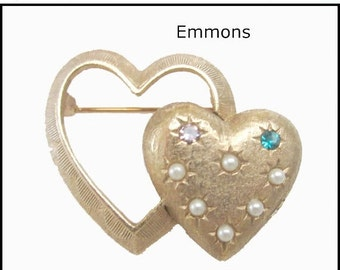 Emmons Double heart Brooch with pearls and rhinestones