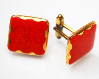 red gold Cuff Links - Red Marble Enamel Glass - Square cufflinks